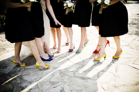 rainbow bridesmaids shoes with LBDs
