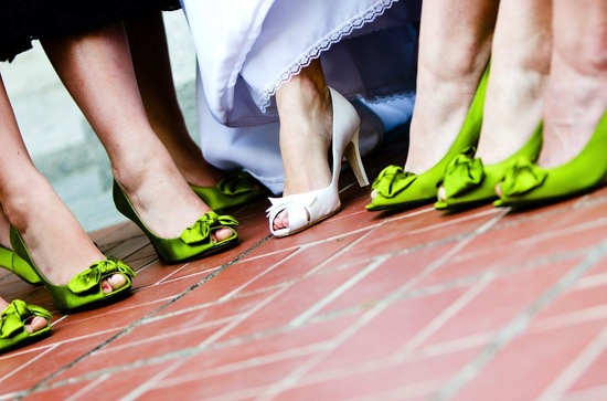 apple green satin bridesmaid shoes
