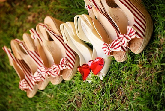 striped wedge bridesmaids shoes