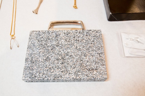 Silver sparkle box clutch for glamorous brides