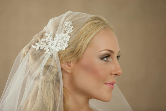 tulle juliet cap wedding veil with lace applique