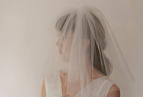double layer circle veil with crystals