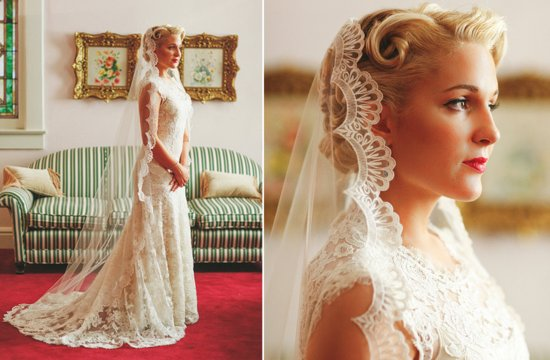 Scalloped lace mantilla bridal veil