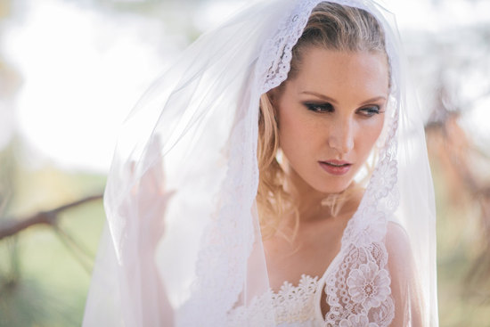 sheer lace mantilla wedding veil