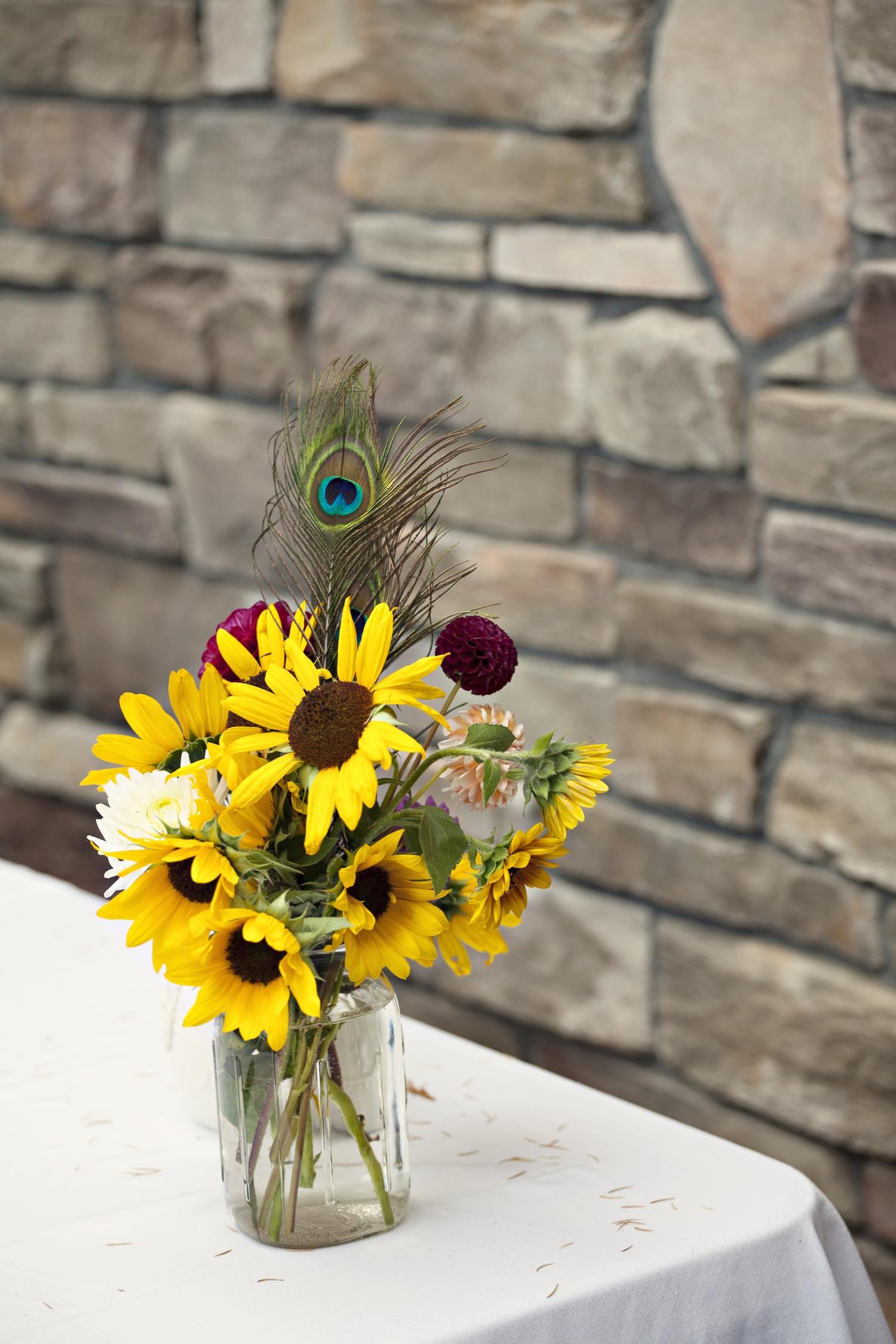 Sunflower Arrangements Diy : Sunflower wedding centerpiece onewed