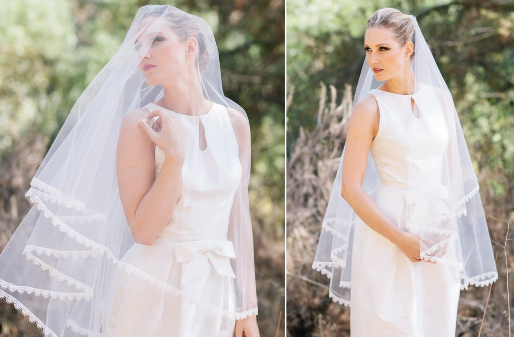 lace edged tulle drop wedding veil