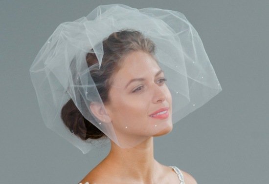 Crystal adorned pouf bridal veil