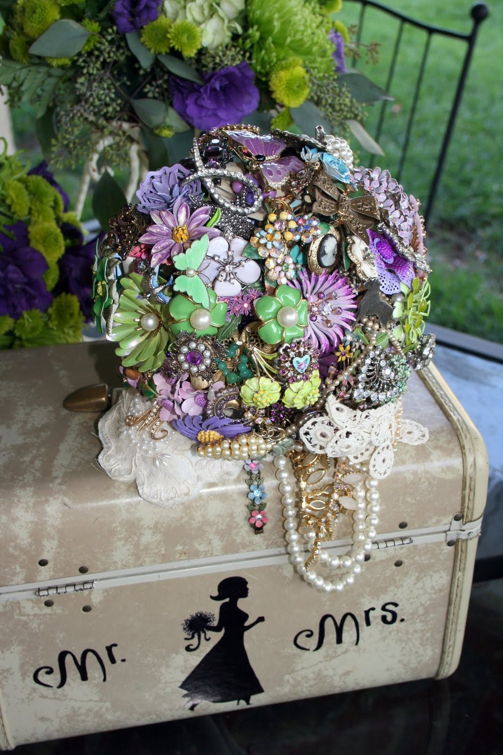 Vintage green and purple brooch bridal bouquet