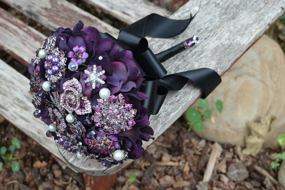 Elegant purple and black brooch bouquet