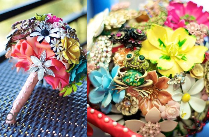Bright bridal brooch bouquet