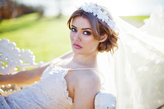 silver threaded elbow length bridal veil