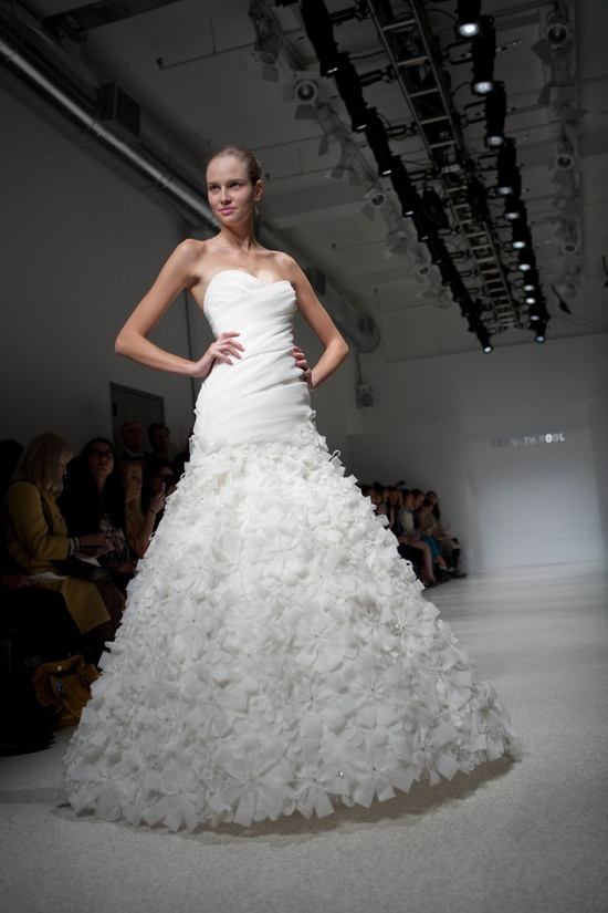 Petal-adorned a-line wedding dress