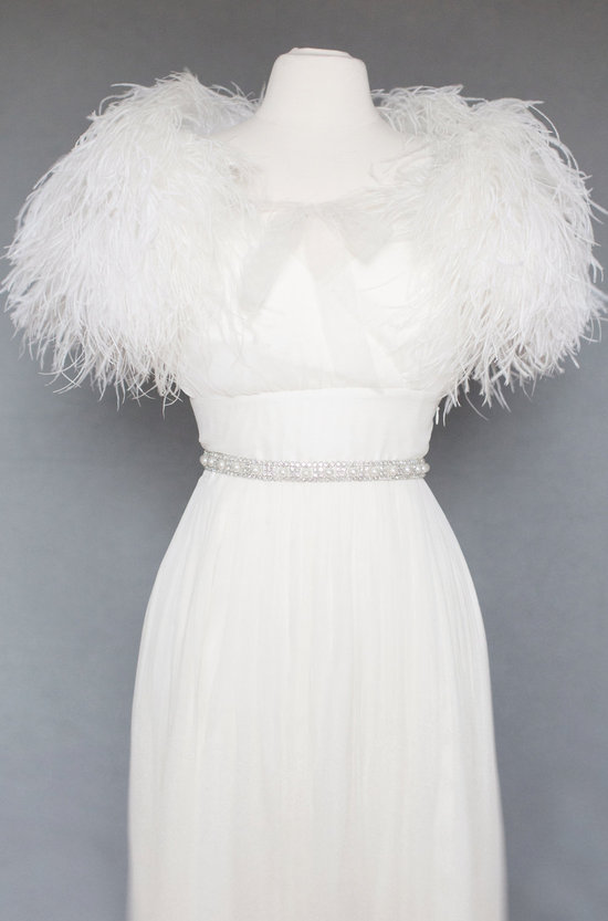Glamourous feather bridal shrug