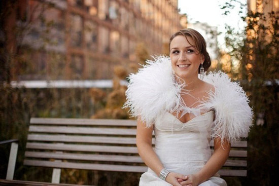 Ostrich feather bridal bolero