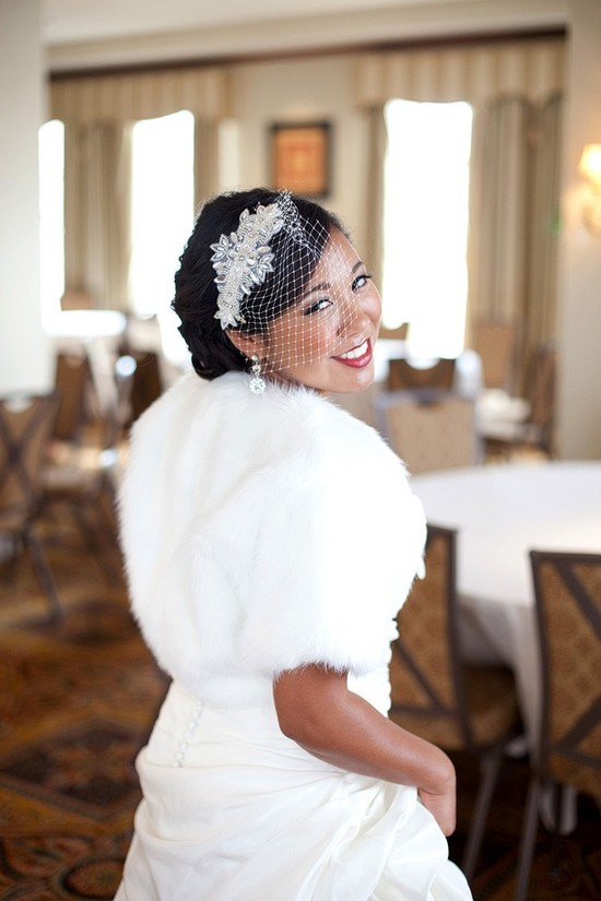 Fur bridal bolero for winter weddings