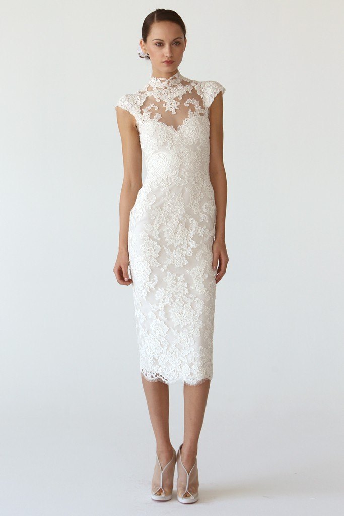 romantic lace little white dress by marchesa onewedcom With little white dress wedding