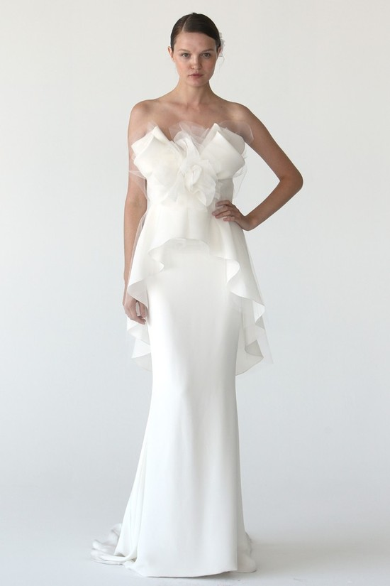 Elegant ivory column wedding dress by Marchesa with peplum and textured tulle