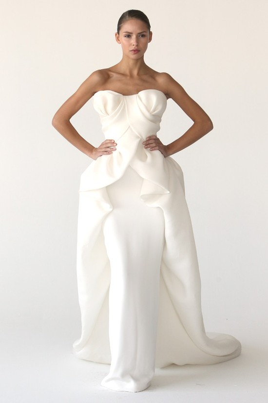 Elegant ivory column wedding dress by Marchesa