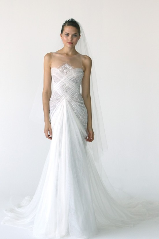 Sleek mermaid wedding dress with sheer illusion neckline
