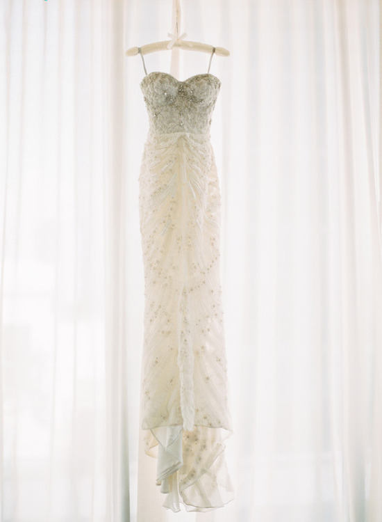 Beaded corset wedding dress by Monique Lhuillier