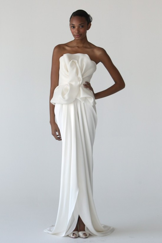 Modern column wedding dress by Marchesa
