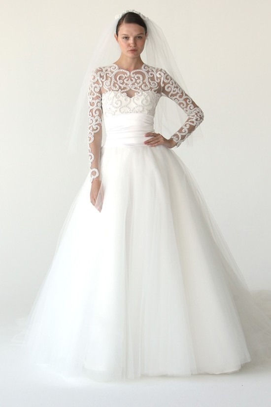 Tulle ballgown wedding dress with sleeves