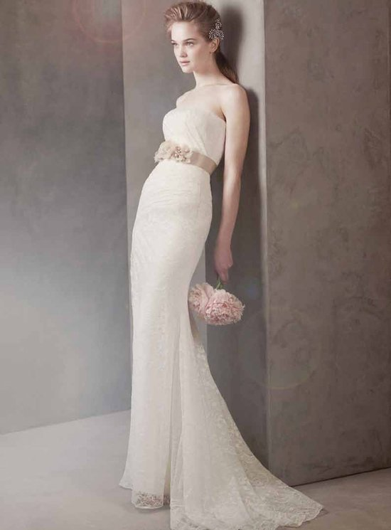 Lace wedding dress with sash
