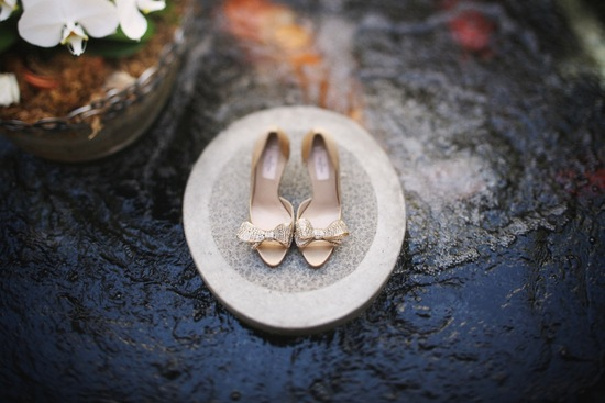 Gold Valentino wedding shoes with sparkly bows