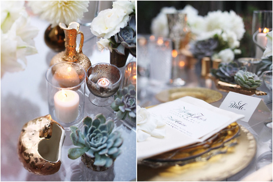 white gold and succulent green wedding sweetheart table