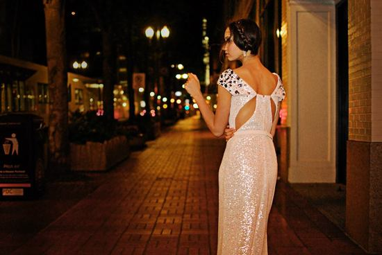 Wedding Dress sequins with Statement Back