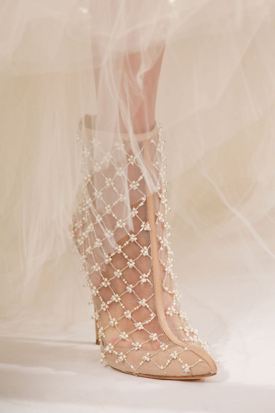 Oscar de la Renta Fashion Week Inspiration - Sheer Bridal Booties with Pearl Beading