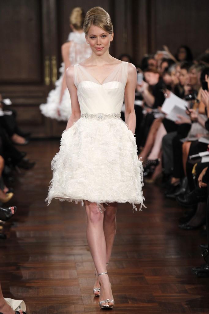 Romona keveza little white wedding dress with sheer for Wedding dress with sheer sleeves