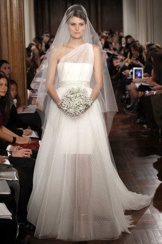 Romona Keveza wedding dress with sheer overskirt and one-shoulder neckline
