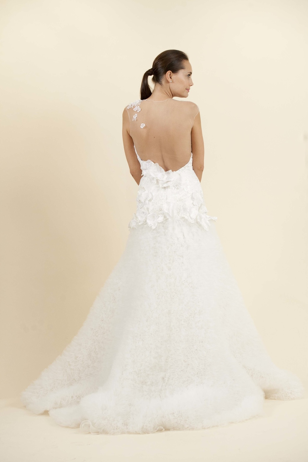 A Line Wedding Dress With Sheer Illusion Back Onewed Com