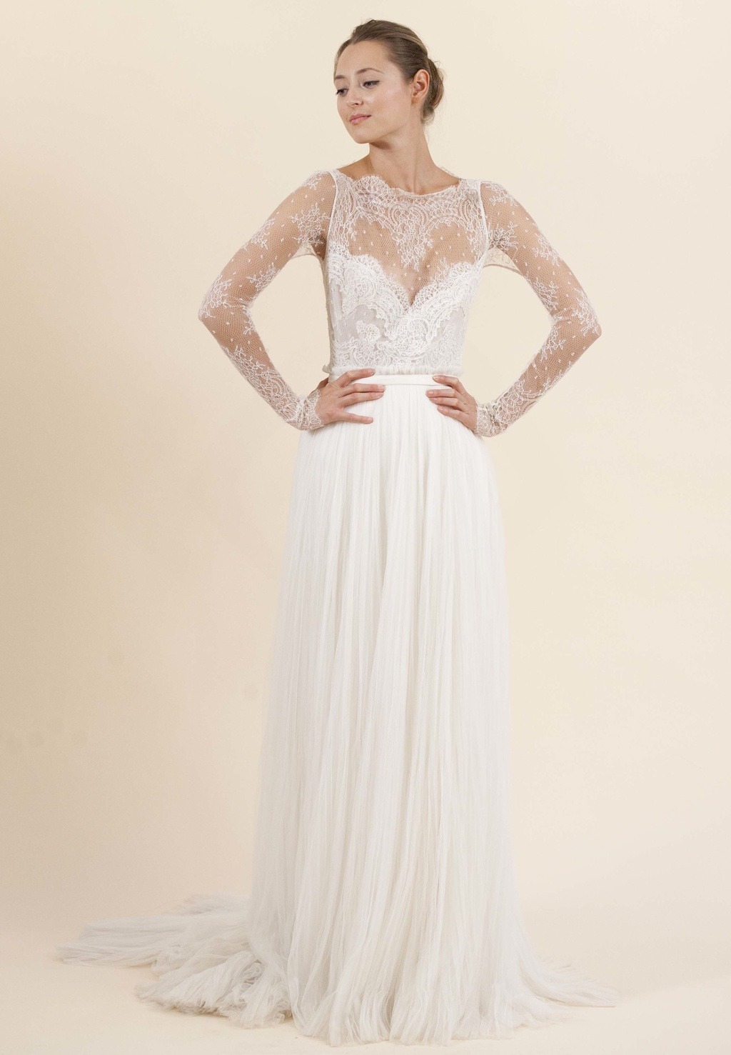 Rosa Clara wedding dress with sheer lace sleeves