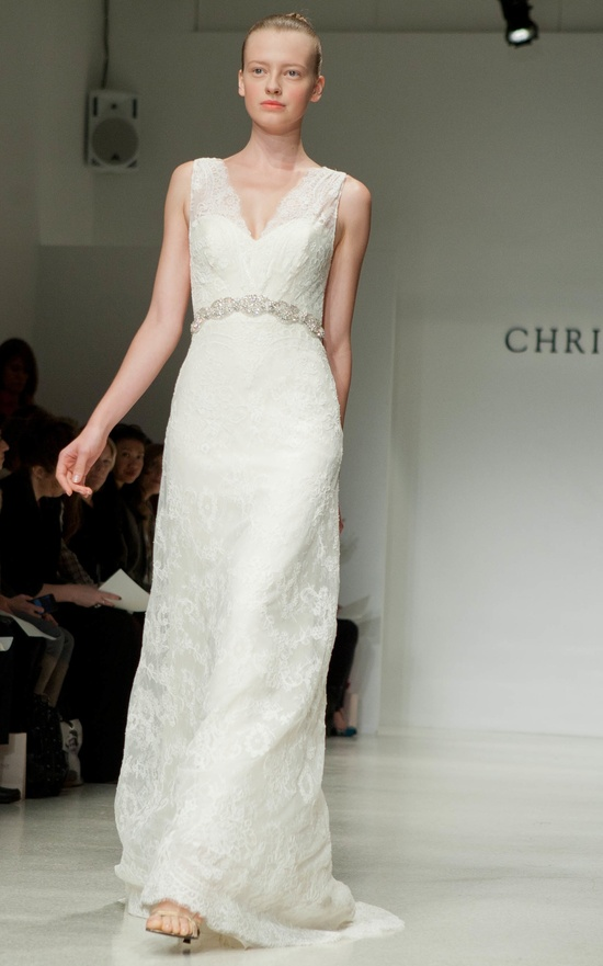 Christos wedding dress with sheer straps