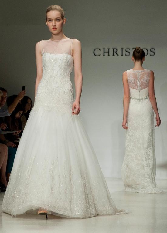 Romantic white a line christos wedding dress with v neck for A line illusion neckline wedding dress