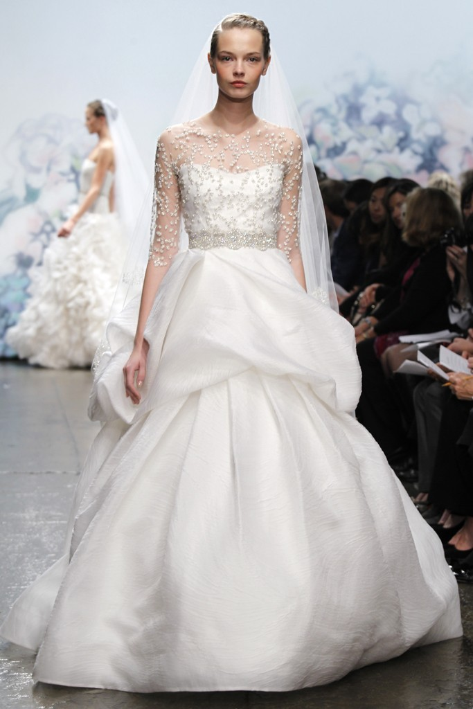 Monique Lhuillier ballgown wedding dress with sheer embellished sleeves