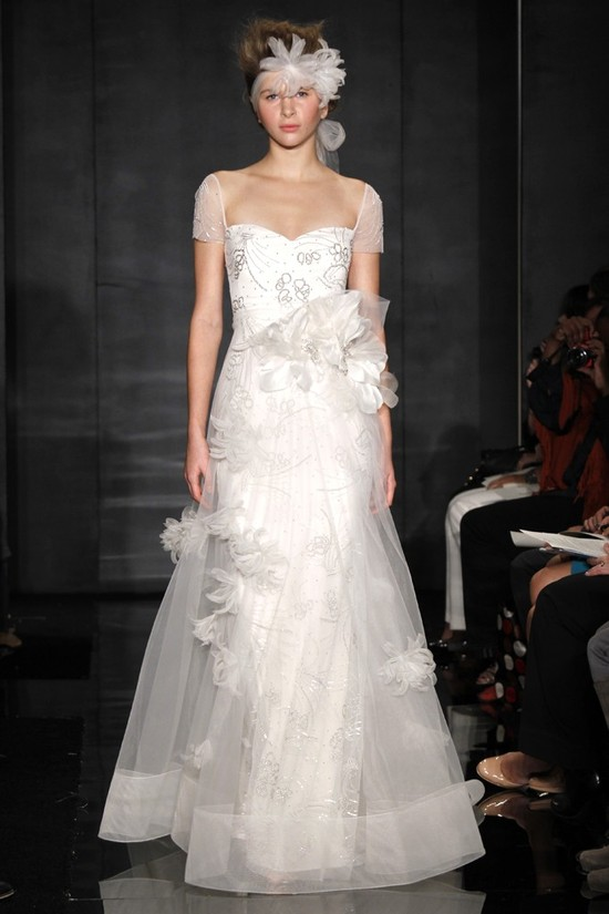 Reem Acra wedding dresses with transparent sheer details