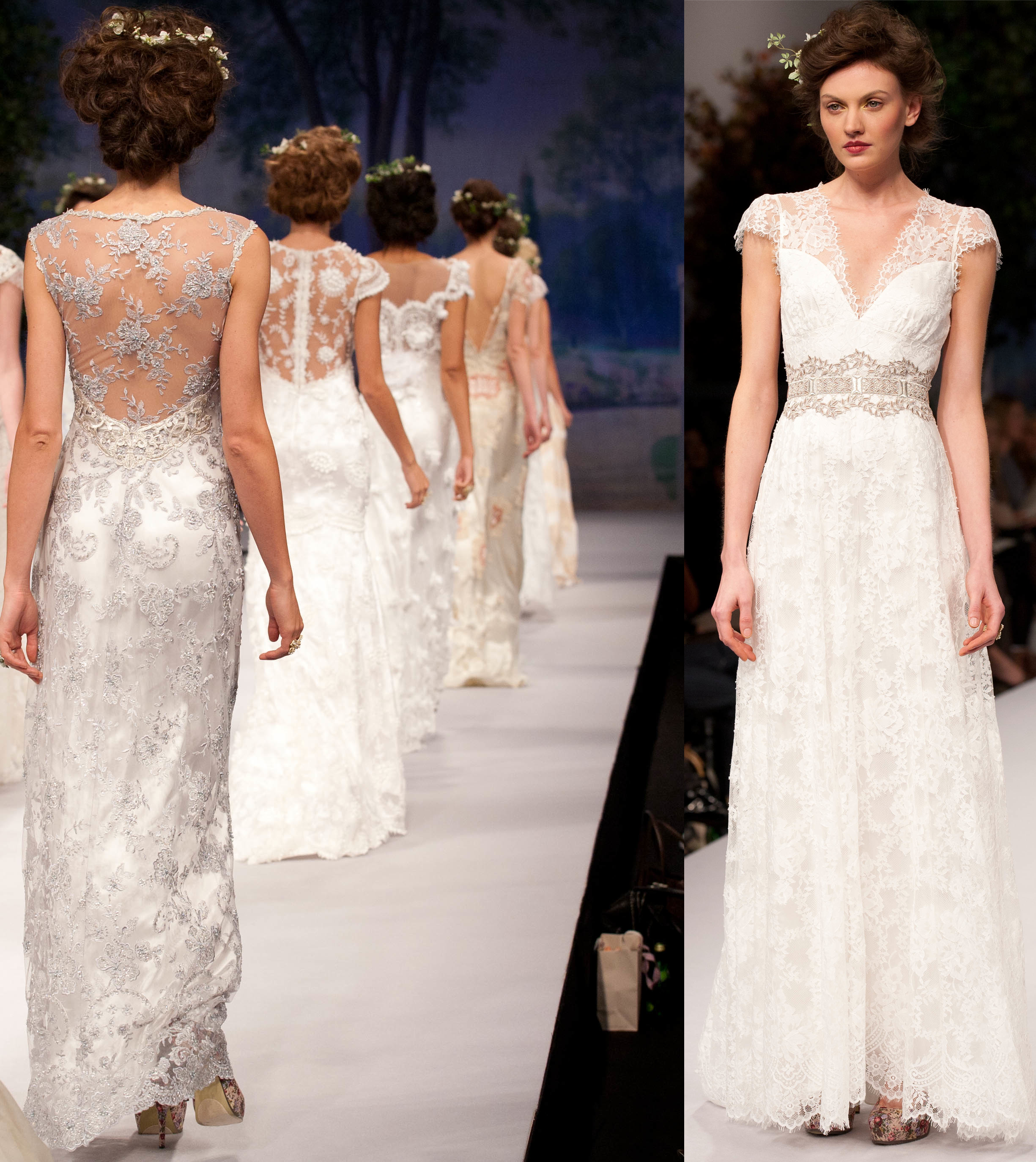 Claire Pettibone Wedding Gowns: Sheer Cap Sleeves, Translucent Wedding Dress Backs