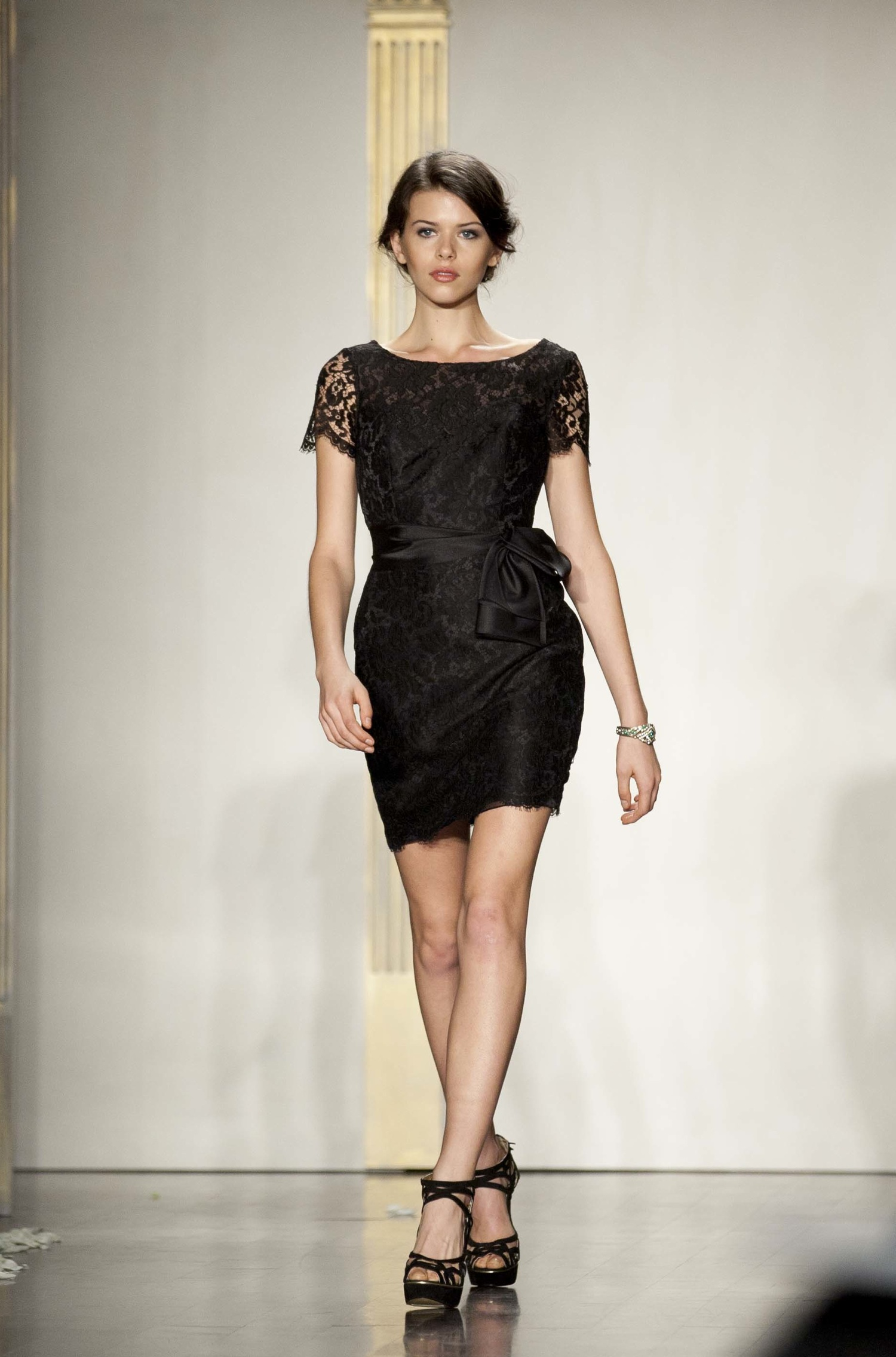 Black Bridesmaid Dresses With Cap Sleeves : Short black bridesmaid dress with lace cap sleeves