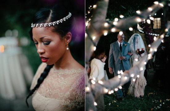 Bohemian glamour bride walks down the aisle