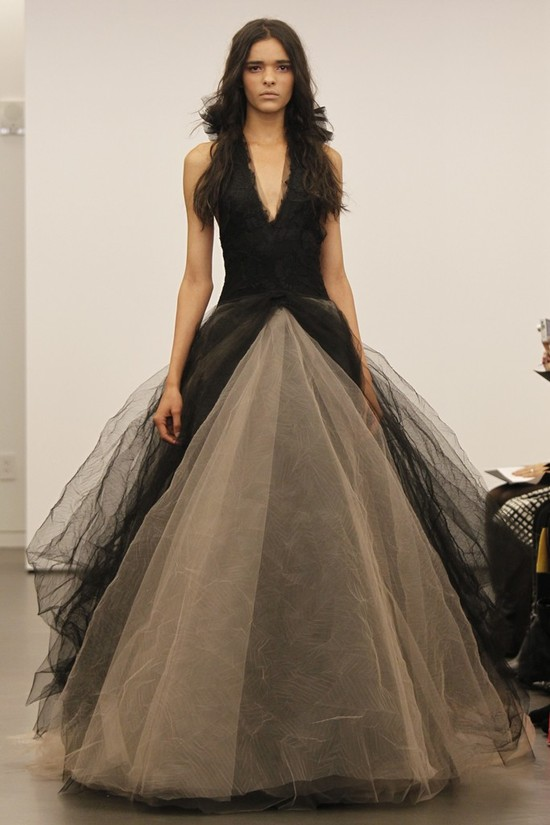Black and nude tulle ballgown wedding dress