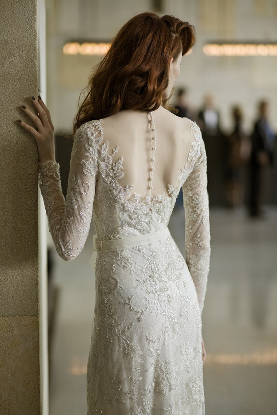 Covered Buttons Beaded Wedding Dress