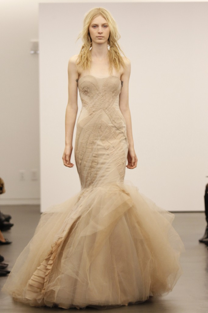 Black and nude Vera Wang wedding dresses