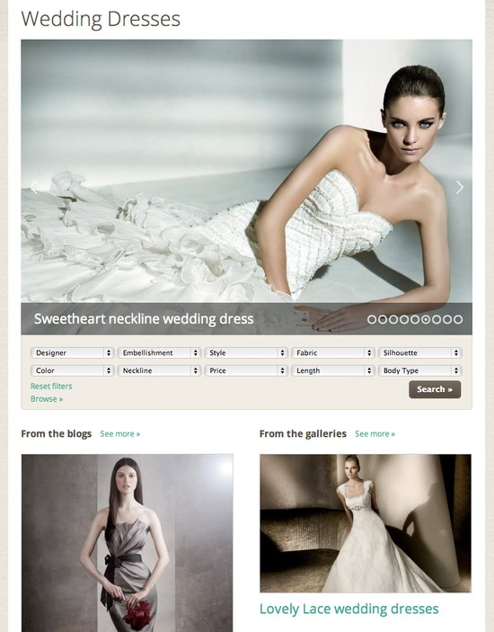New designer wedding dress gallery on onewed.com