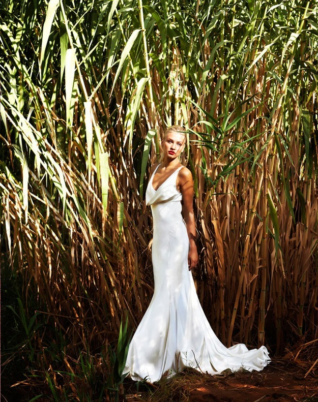 Bias cut silk satin wedding dress with draped cowl neckline