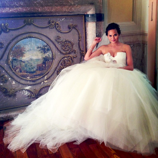 Celebrity weddings Chrissy Tiegen wears Vera Wang wedding dress