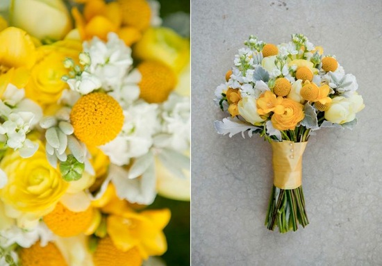 Yellow Ivory And Green Fall Wedding Bouquet