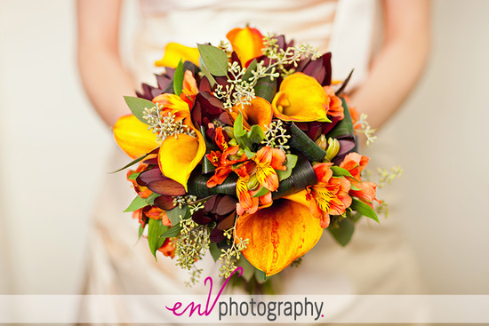 bright fall wedding bouquet with yellow calla lilies